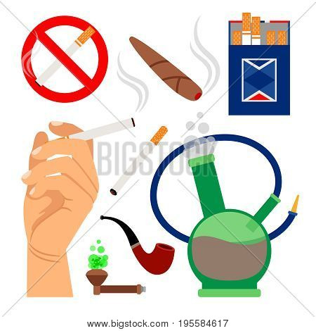 Smoking tobacco icons. Set of cigarettes and hookah, cigar and no smoking sign isolated on white background. Vector illustration