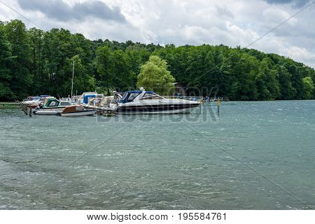 LAKE WERBELLINSEE GERMANY - JUNE 25 2017: Marina for yachts. Werbellinsee is a lake in the Barnim district of Brandenburg. During the GDR on the lake the largest Young Pioneer camp was located.