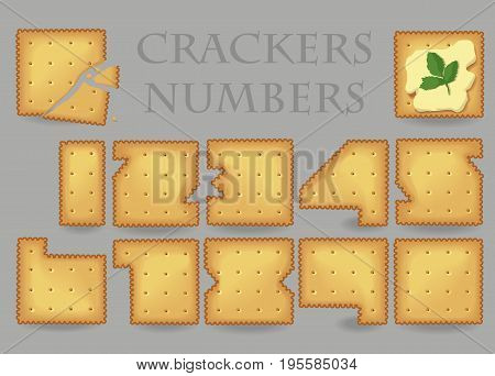 Crackers Numbers. Yellow Numerals are as cookies. Illustration