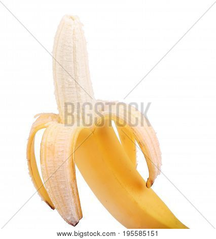 Fresh and tasty bananas, isolated on a white background. Sweet, ripe bright yellow banana. The concept of vitamins and diet. Peeled banana.