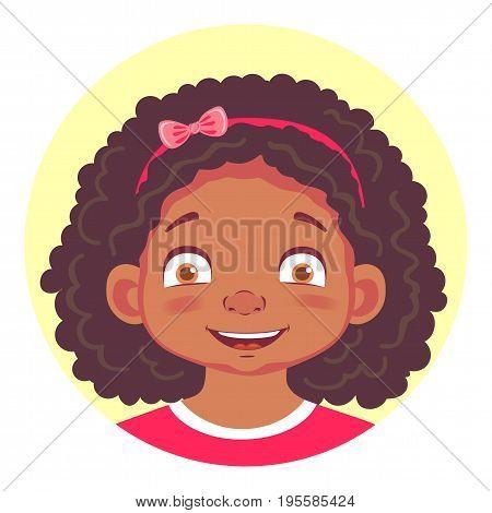 African girls emotions. Facial expression. Set of emoticons. Flat vector illustration. Joy