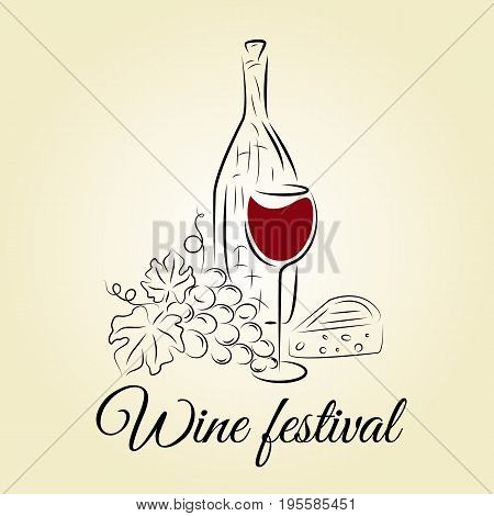 Wine bottle wine glass grape and cheese. Wine festival template. Hand drawn concept for winery wine list wine festival wine tasting menu and poster design. Vector illustration on beige.