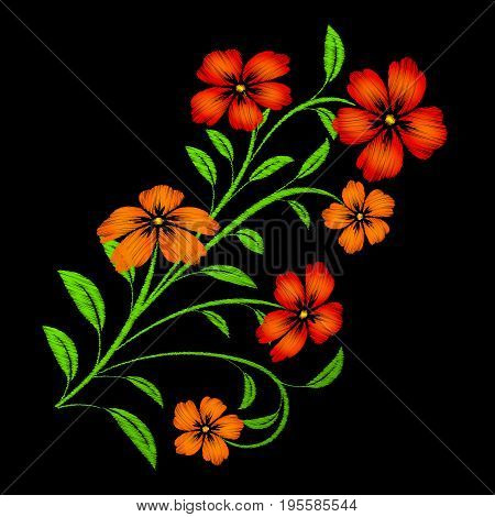 Embroidered red flowers on black background. Embroidered floral template with flowers for clothing design.