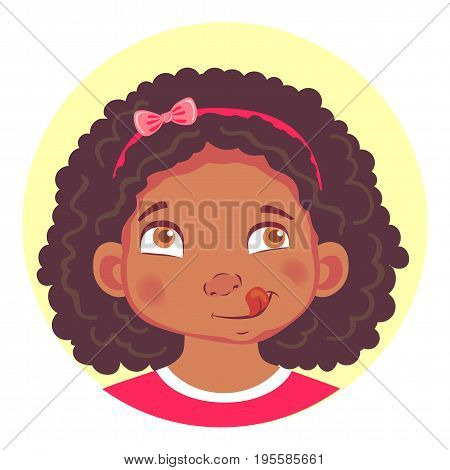 African girls emotions. Facial expression. Set of emoticons. Flat vector illustration. Yum