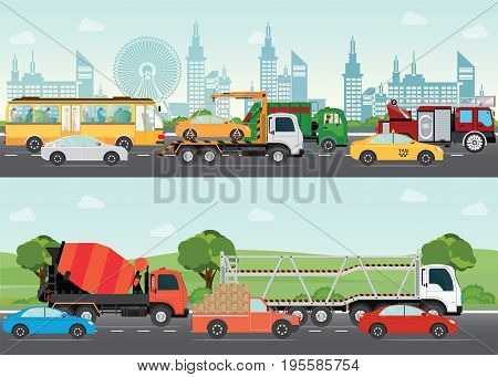 Highways road with many different vehicles with traffic traveling passing through the city and green landscape transportation design elements vector illustration.