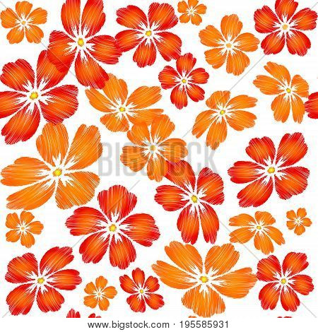 Embroidered red orange flowers on white background seamless pattern. Embroidered floral template with flowers for clothing design.