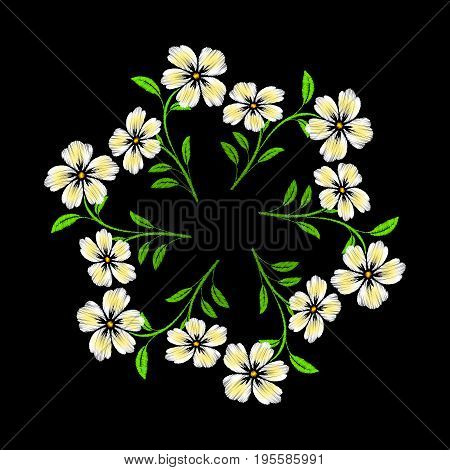 Embroidered white flowers on black background. Embroidered floral template with flowers for clothing design.