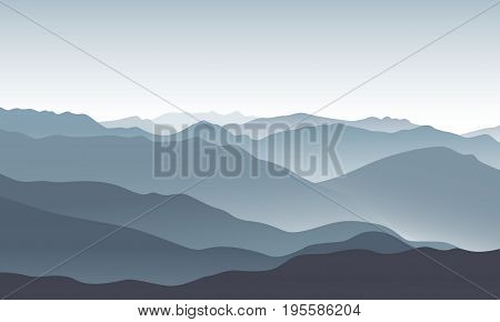 Grey mountain landscape. Vector illustration. Nature background in the morning.