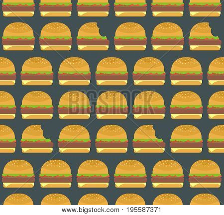Nice colorful hamburgers and nibbled burgers seamless pattern on dark background. Nice american fastfood pattern for textile cafe and restaurant wrapping paper covers banners wallpaper