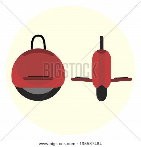Flat red self-balancing electric unicycle icon. Monocycle transport symbol. Modern alternative youth city transport. Ecological fashion teenager transport isolated symbol