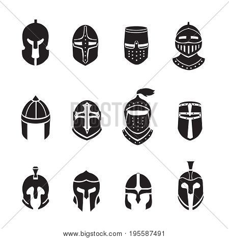Warrior helmets black icons or logos set. Soldier armor, ancient military, illustration