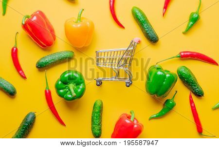 Chili Pepper And Cucumbers With Shopping Cart