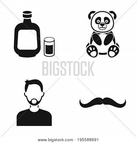 Alcohol, Panda and other  icon in black style. man, mustache icons in set collection.