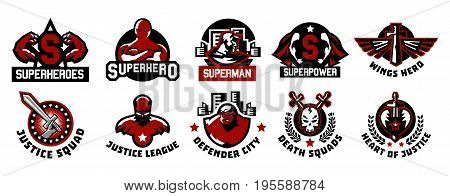 Set of superhero logos. A collection of images of superman. The suit, raincoat, silhouette, image, face, muscles, city, wings, sword, skull monster heart Vector illustration Flat style