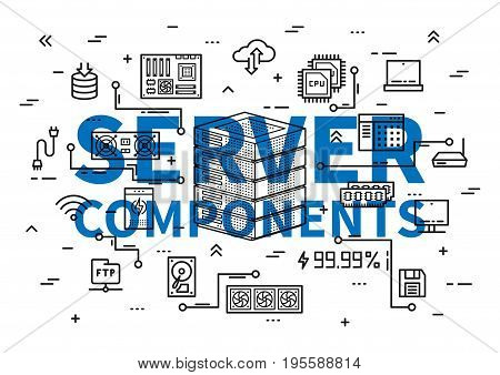 Server components vector illustration. Server elements: cpu chip keyboard ram memory hdd processor etc line art. Computer hardware equipment graphic design.