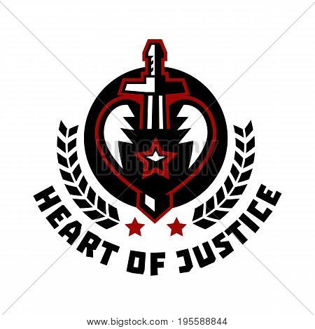 Logo heart of justice. The sword piercing the heart. Blood, cut. The struggle for justice. Hero Theme. Wreath. Vector illustration. Flat style.
