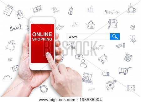 Hand Touch Mobile Phone With Online Shopping Word With Search Box And Doodle Features  At White Back