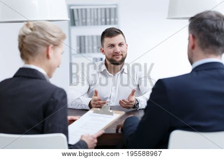 Man Answering Questions
