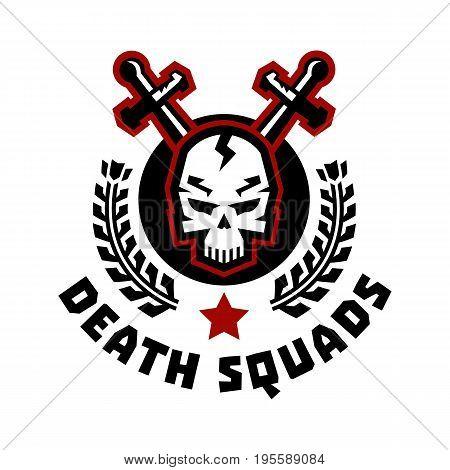 Logo death squad. Swords cross. Skull and wreath. Vector illustration. Flat style