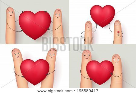 Fingers and heart collection. Image set for romantic love messages. Flat style vector realistic illustration isolated on white background