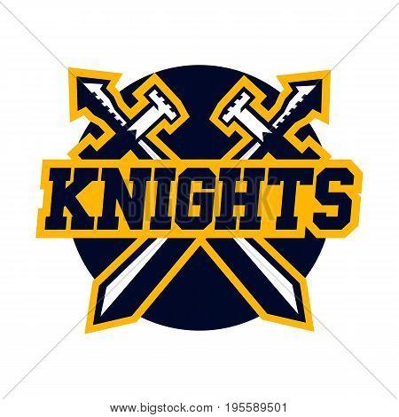 Logo Knights. Swords cross. Vector illustration Flat style