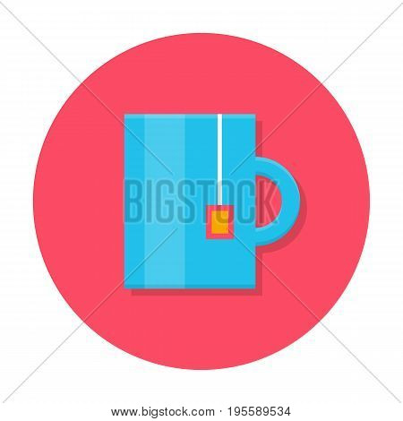 Tea mug flat icon. Blue mug with tea bag pocket, lunch time in the office, coffee break. Vector flat style cartoon illustration in rounded shape. Business concept