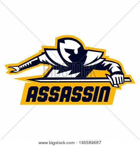 Assassin logo. Lettering. Crouching Warrior with a sword. Vector illustration. Flat style