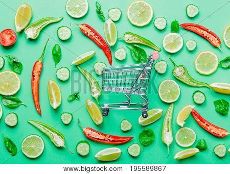 Chili Pepper And Shopping Cart With Lemons