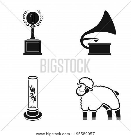 Cup, Gramophone and other  icon in black style. plant in vitro, sheep icons in set collection.