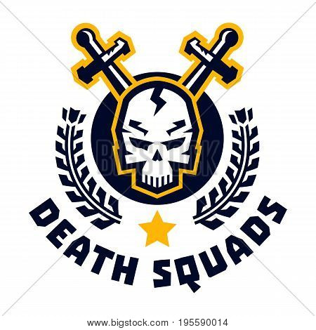 Logo death squad. Human skull and cross swords. Wreaths. The emblem on the Middle Ages and the war. Vector illustration. Flat style
