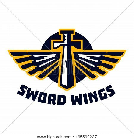 Logo sword wings. Steel arms. The emblem on the topic of the Middle Ages. Vector illustration. Flat style.