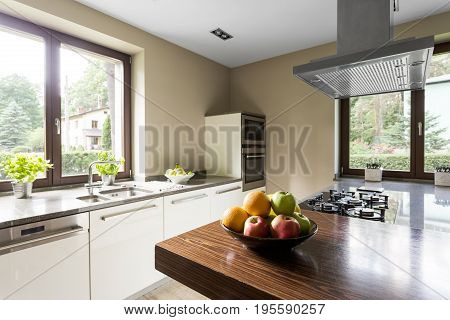 Modern Kitchen With Wooden Kitchentop