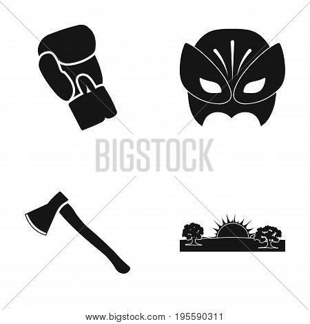 Boxing Glove, Mask and other  icon in black style. Ax, Sunrise icons in set collection.