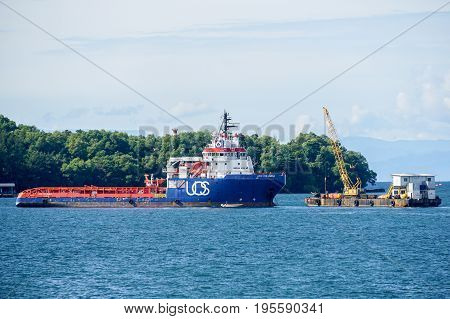 Labuan,Malaysia-June 26,2017:Multi function offshore oil & gas support,platform & supply vessels at Labuan,Malaysia.All the vessels in Labuan island,most related to the offshore Oil & Gas industry