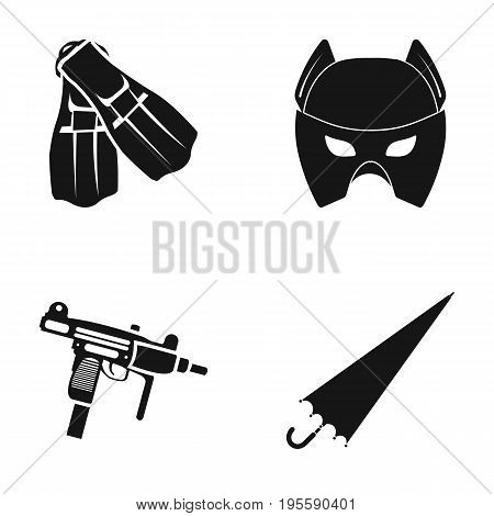 Fins, Mask and other  icon in black style. Automatic, umbrella icons in set collection.