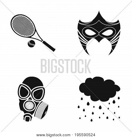 Tennis racket, mask and other  icon in black style. gas mask, precipitation icons in set collection.