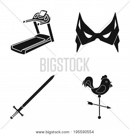 Treadmill, mass and other  icon in black style. sword, weathercock icons in set collection.