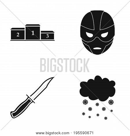 Go became a mask and other  icon in black style.a knife, precipitation icons in set collection.