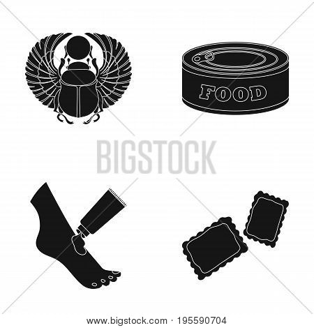 Scarab beetle, food and other  icon in black style. body care, dessert icons in set collection.