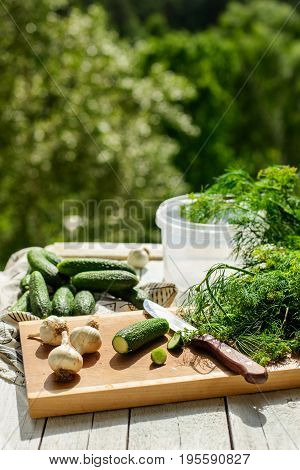 fresh cucumbers ready to be salted on wooden board against greenery background