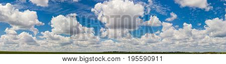 Big panorama of the sky with cumulus and cirrus clouds over a agricultural grounds and forest at summer day