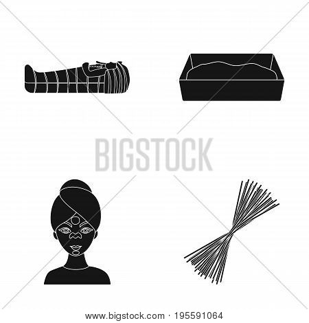 Tomb of the pharaoh, tray for the animal and other  icon in black style. facial, pasta icons in set collection.