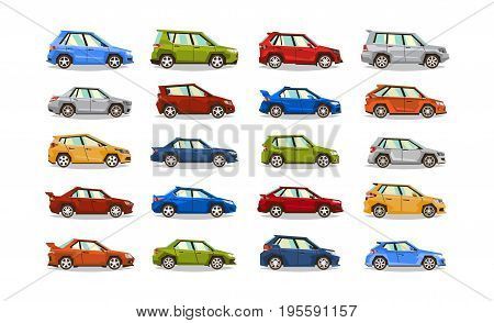 Big set of cars. Collection vehicle. Sedan, hatchback, roadster, SUV. The image of toy machines. Isolated objects on a white background. Vector illustration. Flat style.