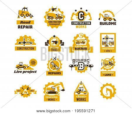 Big set of logos on the theme of construction. Building machinery, transport, professional equipment and tools. Asphalt processing works. Excavator, tractor, truck, crane. Isolated on background.
