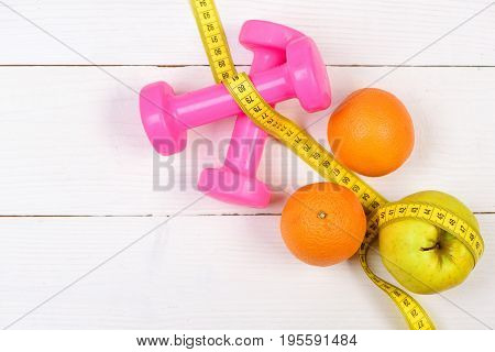 Fitness Body Concept, Dumbbells Weight With Measuring Tape ,fruit