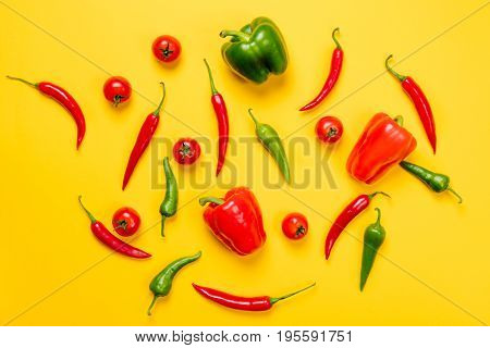 Above View At Chili Pepper And Capsicum