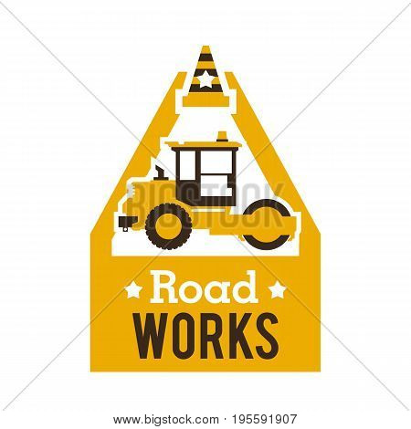 Logo paver, road repair. Asphalt processing works. Construction machinery. Traffic cone. Vector illustration. Flat style