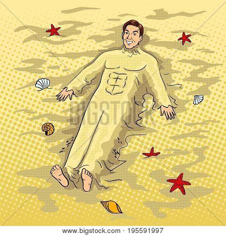 Man buried in the sand on beach pop art retro vector illustration. Comic book style imitation.