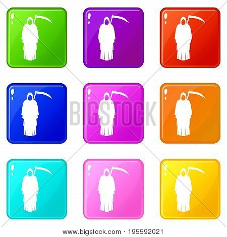 Death with scythe icons of 9 color set isolated vector illustration