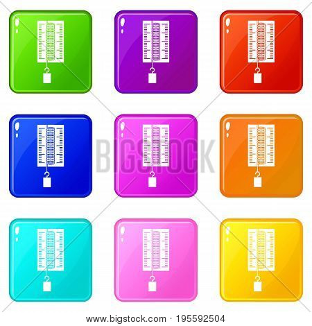 Physics dynamometer for laboratory work icons of 9 color set isolated vector illustration